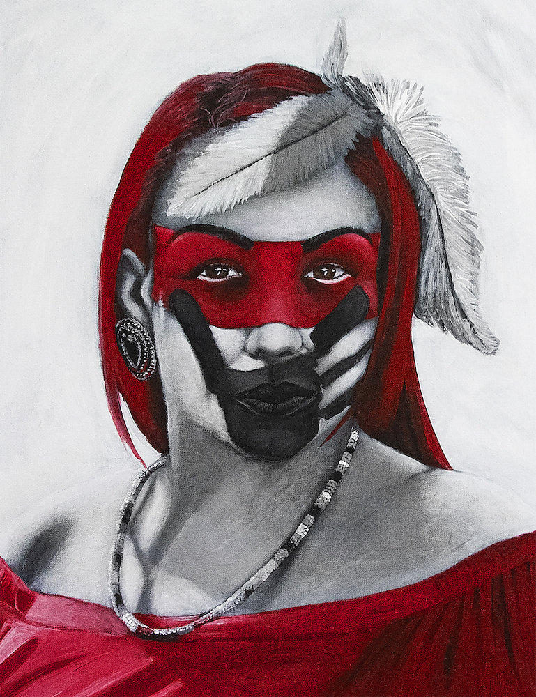 Stacey in RED, MMIWG painting project portrait